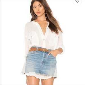 NEW FREE PEOPLE TALK TO ME BUTTON DOWN SHIRT IVORY